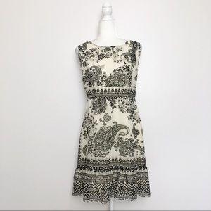 One World Cream & Black Paisley Sleeveless Dress L